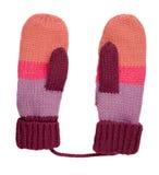 在白色背景隔绝的手套 被编织的手套 手套 免版税库存照片