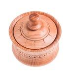 在白色背景隔绝的手工制造木罐 免版税图库摄影