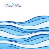在白色背景隔绝的抽象蓝色海波浪,向量图形例证 免版税库存照片