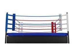 在白色背景隔绝的拳击台 免版税库存照片