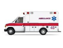 在白色背景隔绝的救护车汽车。侧视图 免版税图库摄影