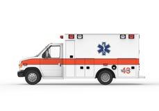 在白色背景隔绝的救护车 库存图片