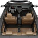 在白色背景隔绝的敞篷车跑车内部 3d例证 免版税图库摄影