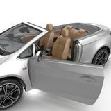 在白色背景隔绝的敞篷车跑车 被开张的门 3d例证 免版税库存照片