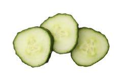 在白色背景隔绝的新伐黄瓜,关闭  免版税库存图片