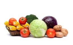在白色背景隔绝的新鲜的成熟菜 图库摄影