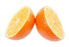 在白色背景隔绝的新鲜的橙色普通话 库存照片