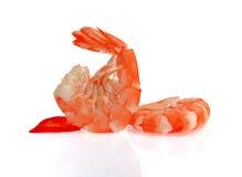 在白色背景隔绝的新鲜的虾 免版税库存照片
