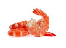 在白色背景隔绝的新鲜的虾 库存照片