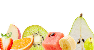 在白色背景隔绝的新鲜水果 库存图片