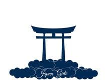 在白色背景隔绝的日本门, torii门,日本门 在云彩的Torii门 标志日本 向量 库存照片