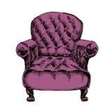在白色背景隔绝的旧式的葡萄酒扶手椅子 库存图片