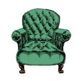 在白色背景隔绝的旧式的葡萄酒扶手椅子 库存照片