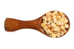 在白色背景隔绝的木匙子的干黄豌豆 顶视图 库存照片