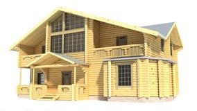 在白色背景隔绝的木房子 免版税库存照片