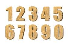 在白色背景隔绝的木数字 免版税库存图片