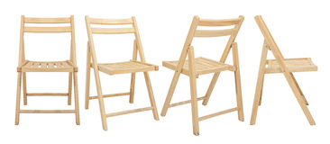 在白色背景隔绝的木椅子 库存图片