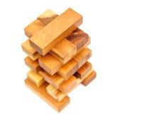 在白色背景隔绝的木玩具块 库存图片