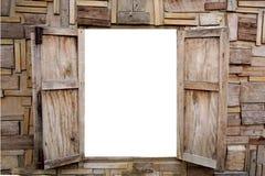 在白色背景隔绝的木窗口开头 免版税图库摄影
