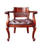 在白色背景隔绝的木葡萄酒扶手椅子 免版税库存照片