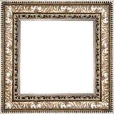 在白色背景隔绝的木银色葡萄酒画框 库存图片