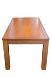 在白色背景隔绝的木餐桌 免版税库存照片