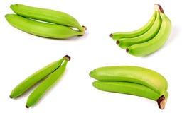 在白色背景隔绝的束绿色香蕉 集合或汇集 库存图片