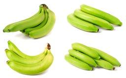 在白色背景隔绝的束绿色香蕉 集合或汇集 免版税库存图片