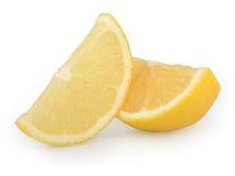 在白色背景隔绝的柠檬切片 库存照片