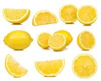 在白色背景隔绝的柠檬的收藏 免版税库存照片