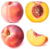 在白色背景隔绝的桃子果子被切的收藏 免版税库存图片