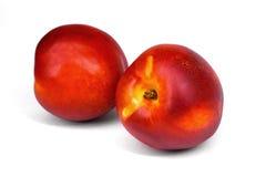 在白色背景隔绝的桃子油桃 库存照片