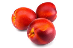 在白色背景隔绝的桃子油桃 库存图片