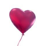 在白色背景隔绝的桃红色心脏气球 库存图片