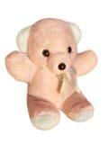 在白色背景隔绝的桃红色玩具熊 库存照片