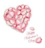在白色背景隔绝的桃红色玫瑰花瓣心脏形状  可用的看板卡日文件华伦泰向量 向量 库存图片