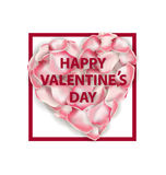 在白色背景隔绝的桃红色玫瑰花瓣心脏形状  可用的看板卡日文件华伦泰向量 向量 库存照片