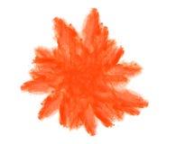 在白色背景隔绝的橙色五颜六色的粉末飞溅爆炸 免版税库存图片