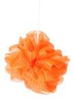 在白色背景隔绝的橙色海绵阵雨 库存图片