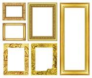在白色背景隔绝的汇集金黄框架 免版税库存照片