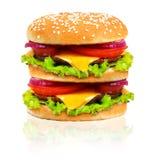 在白色背景隔绝的汉堡包。 库存图片