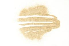 在白色背景隔绝的沙子污点 库存照片