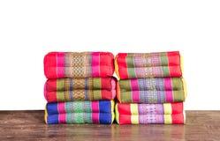 在白色背景隔绝的泰国样式枕头 库存图片