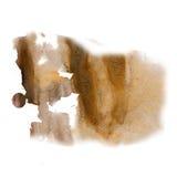在白色背景隔绝的泼溅物墨水水彩染料液体棕色水彩宏观斑点污点纹理 免版税图库摄影