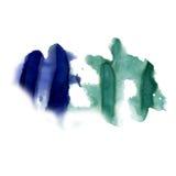 在白色背景隔绝的泼溅物墨水蓝绿色水彩染料液体水彩宏观斑点污点纹理 库存图片