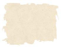 在白色背景隔绝的浅褐色的被撕毁的纸纹理 库存照片