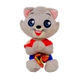 在白色背景隔绝的浣熊玩具 免版税库存图片