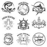 在白色背景隔绝的海鲜标签的套 设计E 图库摄影