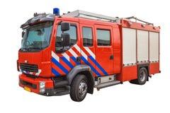 在白色背景隔绝的消防车 库存图片