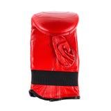 在白色背景隔绝的演播室摄影红色皮革拳击手套 库存图片